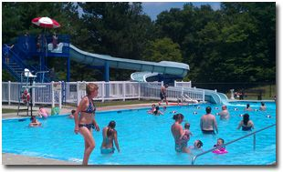 the pool and waterslide at dan s mountain state park maryland