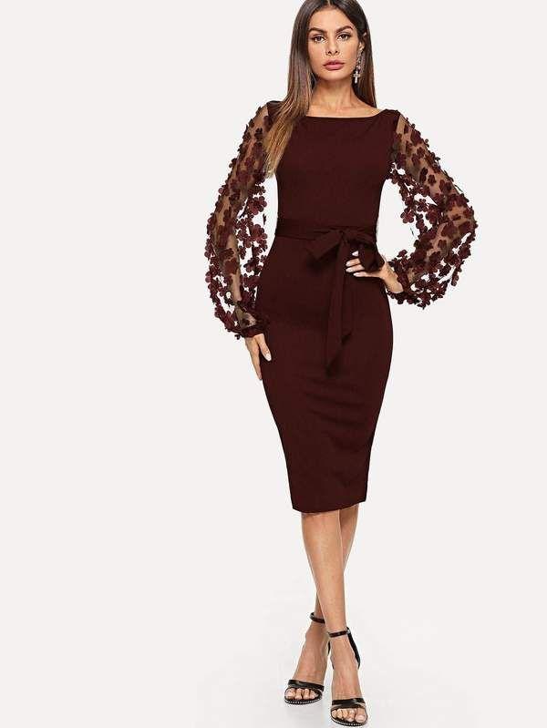 c09119cf1e410 Contrast 3D Applique Mesh Sleeve Self Tie Dress in 2019   Popviva ...