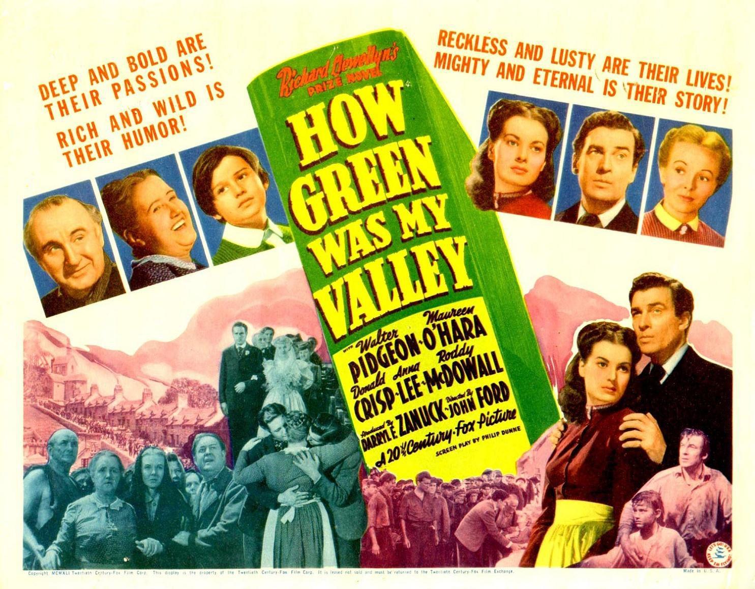 Que Verde Era Mi Valle 1941 Carteles De Cine Cine Entrega De Oscar