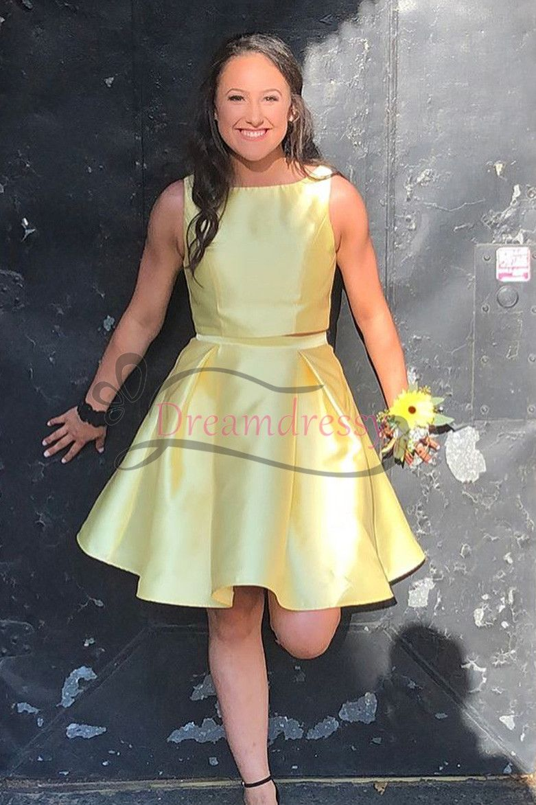 Cheap two piece short yellow homecoming dress under dreamy