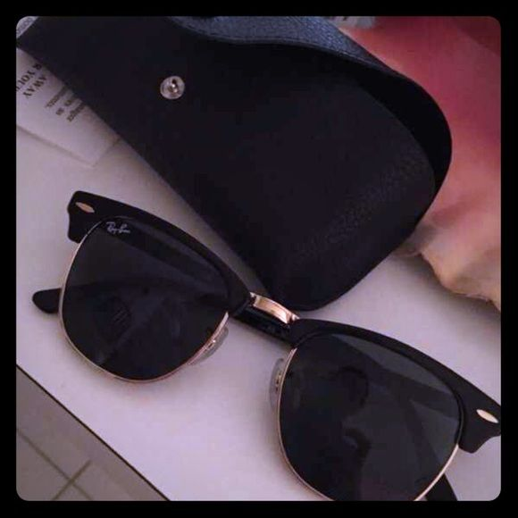 black and gold clubmasters  Brand new rayban clubmasters nwt
