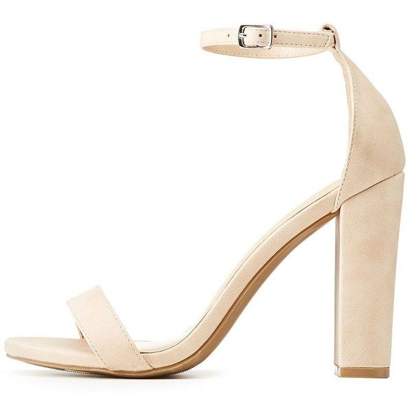 96e11c1fc7 Charlotte Russe Wide Width Ankle Strap Chunky Block Heel Sandals ($20) ❤  liked on