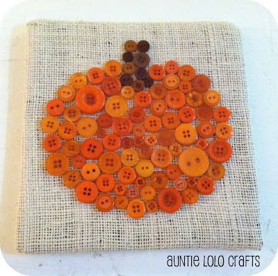 Button pumpkin on burlap. Draw pumpkin outline, glue buttons, then stitch buttons. Frame as desired.
