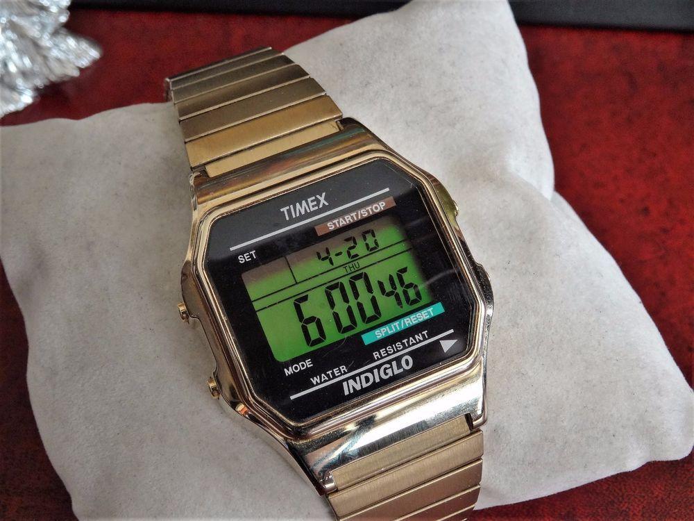 c576e2ca3a67 Timex Chrono Digital Indiglo Gold Tone WR 30M Mens Watch w  21mm Gold Tone  Band!  Timex  Sport