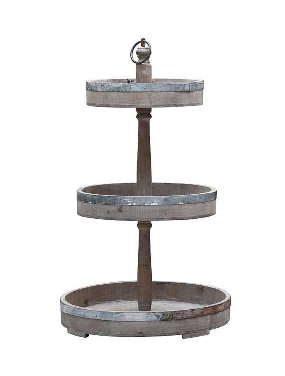 This Rustic Industrial Fixer Upper Style Decorative Wood And Tin 3 Tier Tray Has Become A Staple In Any And All Farmho Three Tier Tray Tiered Tray Tray Decor