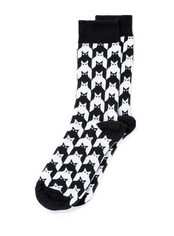 Geo Cat Motif Socks