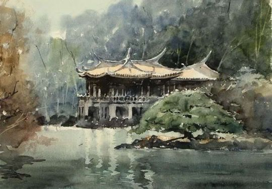 Kazuo Kasai   Exotic Wind 36cm × 51cm #shinjuku #park #watercolor #painting #kazuokasai #landscape #old #japan
