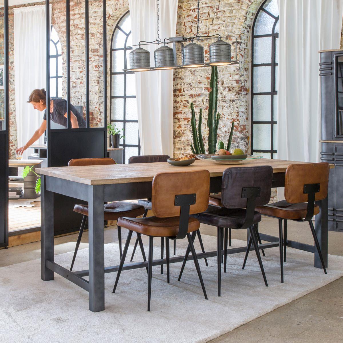 Table A Manger Bois Et Metal Gris 4 Tiroirs En 2020 Table A Manger Bois Et Metal Chaise Industrielle Table Salle A Manger