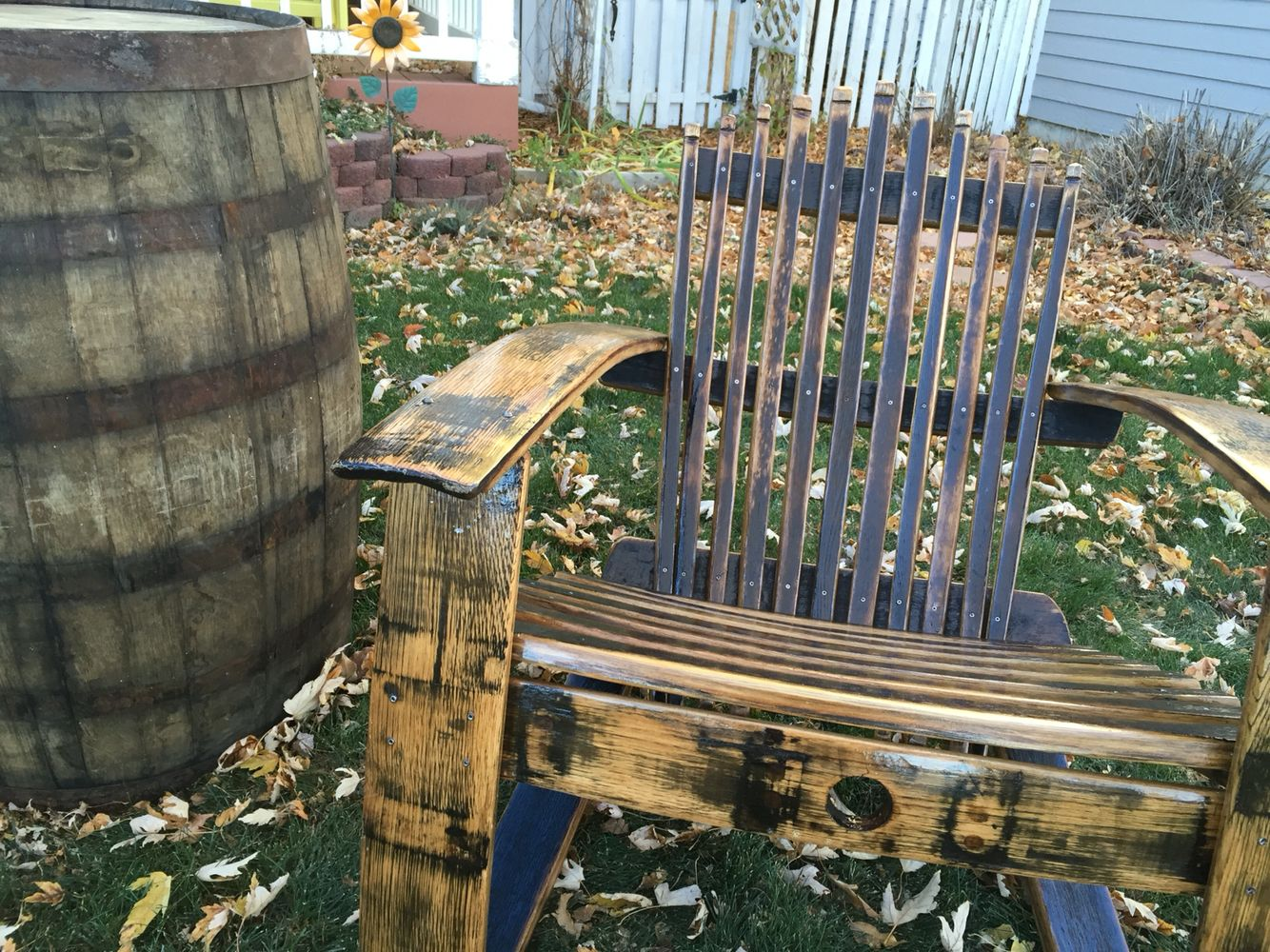 Adirondack chair from a whisky barrel.