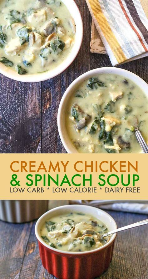 Creamy Chicken & Spinach Soup - Keto & Low Carb Soup