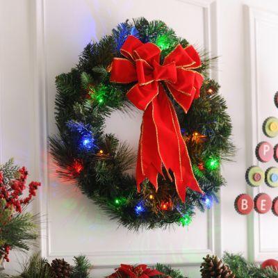 Pre Lit Door Wreath With Color Lights Kirkland S