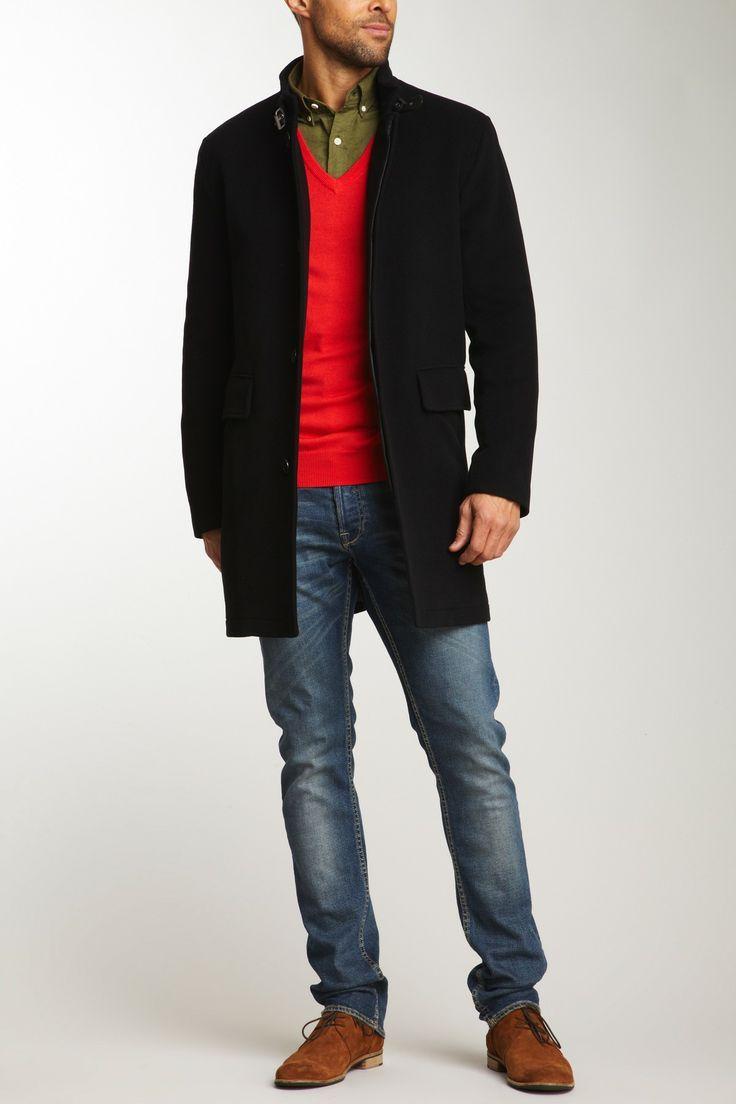 Men's Black Overcoat, Red V-neck Sweater, Olive Long Sleeve Shirt ...