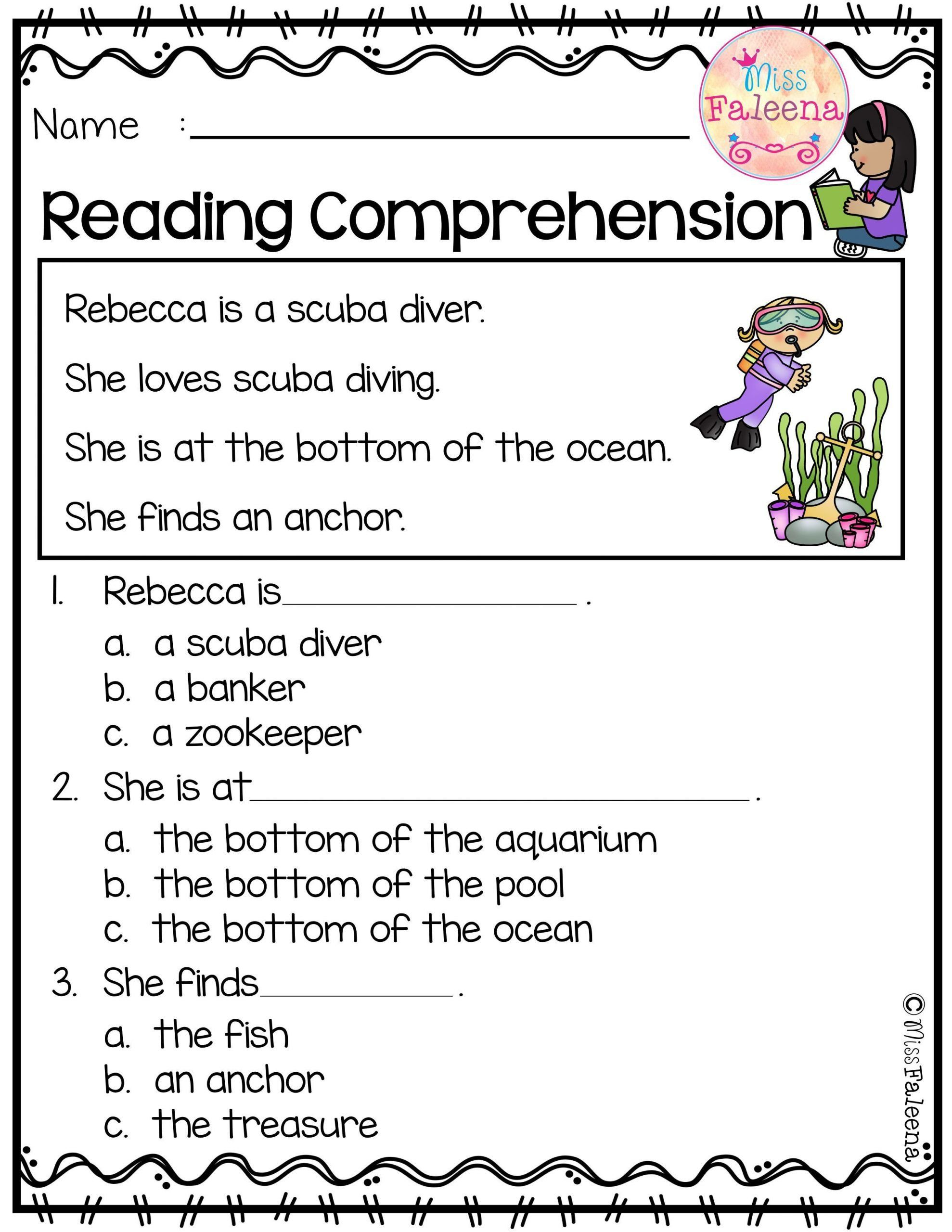 Kindergarten Worksheets Reading Comprehension June Reading