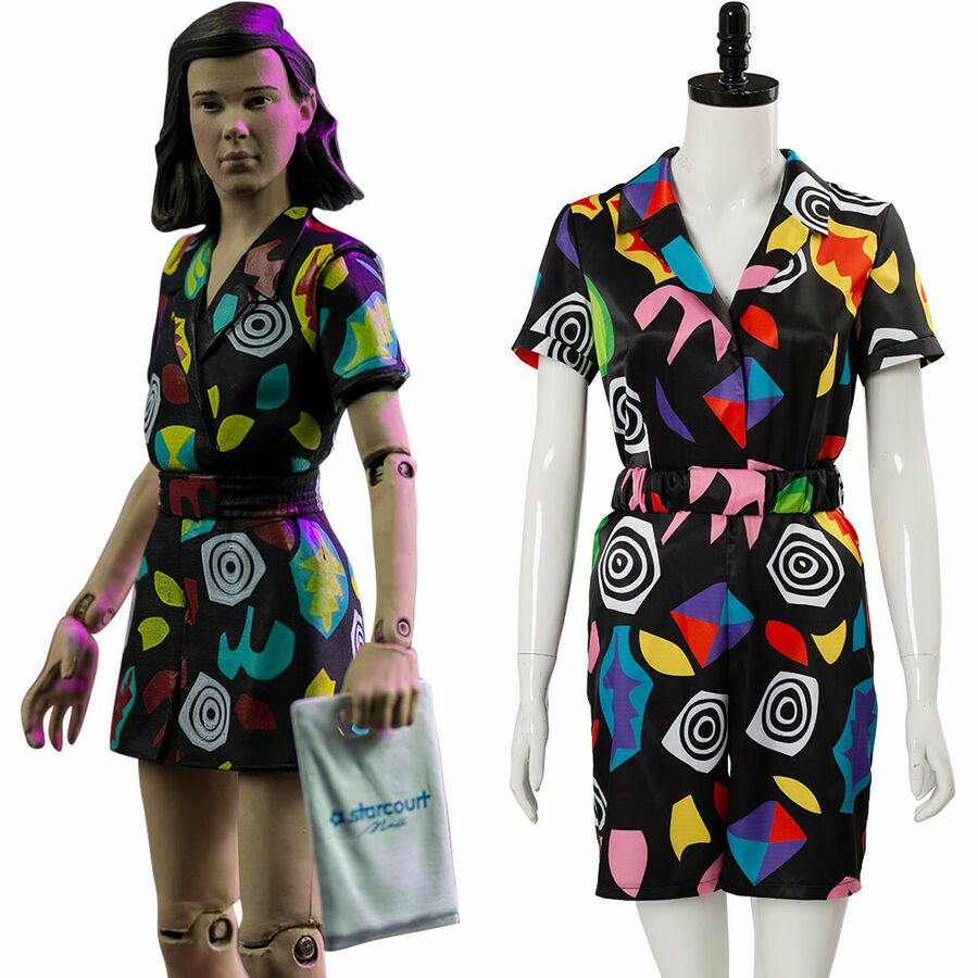 Halloween Stranger Things Season 3 Eleven Cosplay Costume Playsuit Shirt Outfits