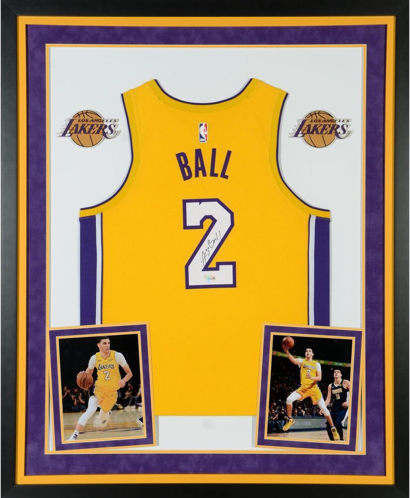 bfeb2cb6fb7 Lonzo Ball Los Angeles Lakers Deluxe Framed Signed Nike Gold Swingman Jersey   sportsmemorabilia  autograph