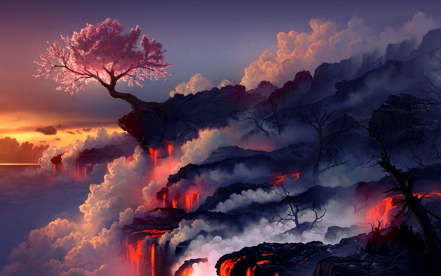 1680x1050 nature landscape fantasy art fire trees smoke