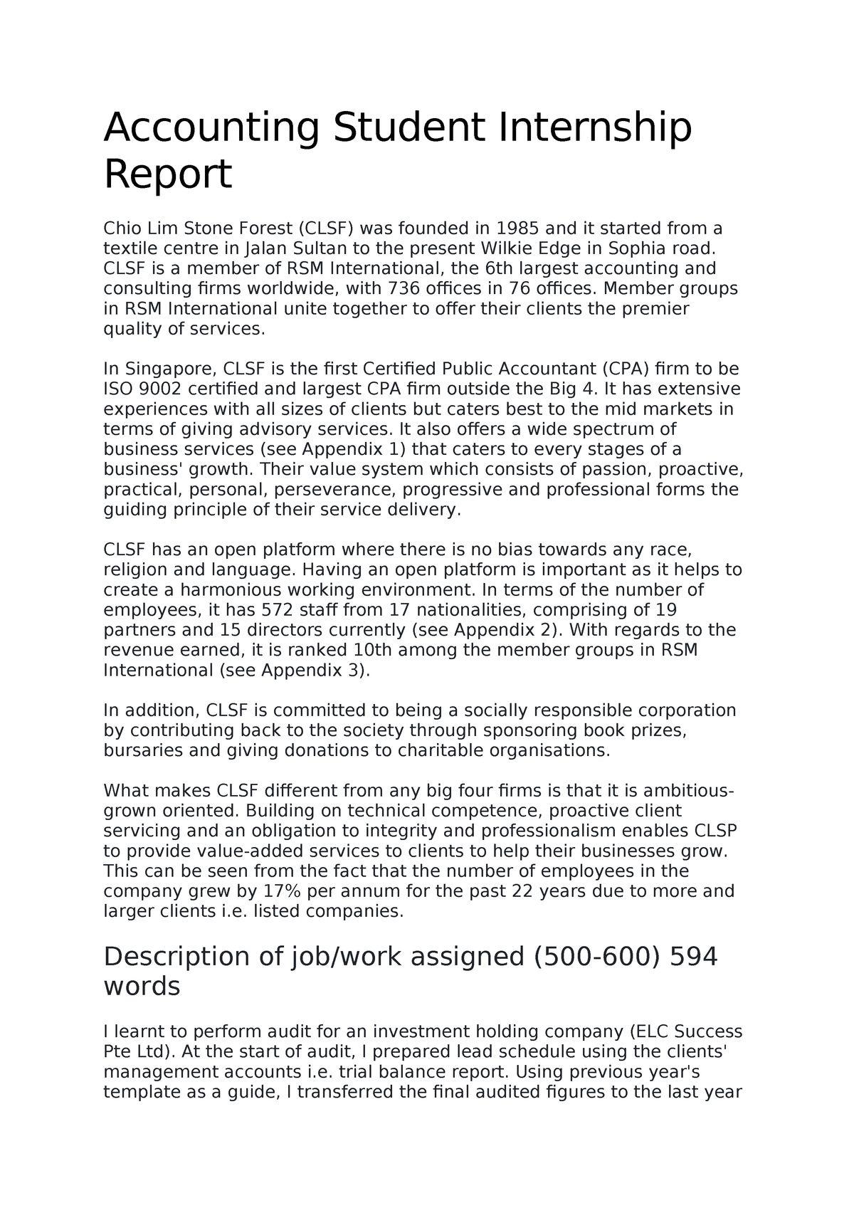 Accounting Student Internship Report Bcu Studocu In After