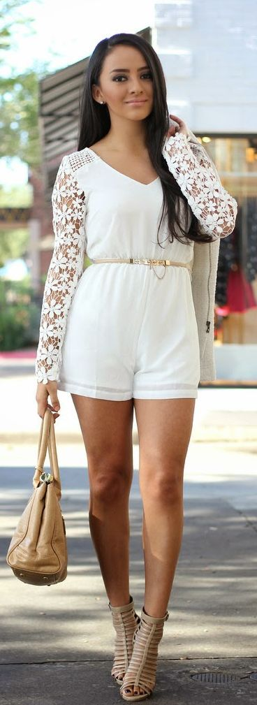 White Lace Sleeve Romper Chic Style