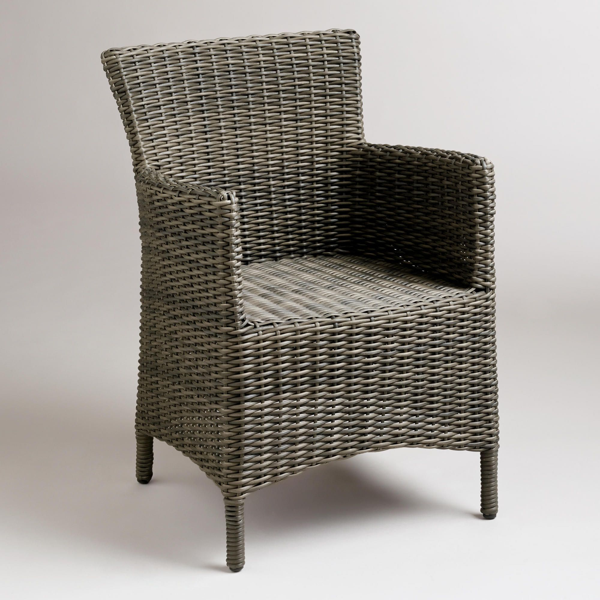 Gray all weather wicker solano armchair armchairs room for All weather outdoor furniture