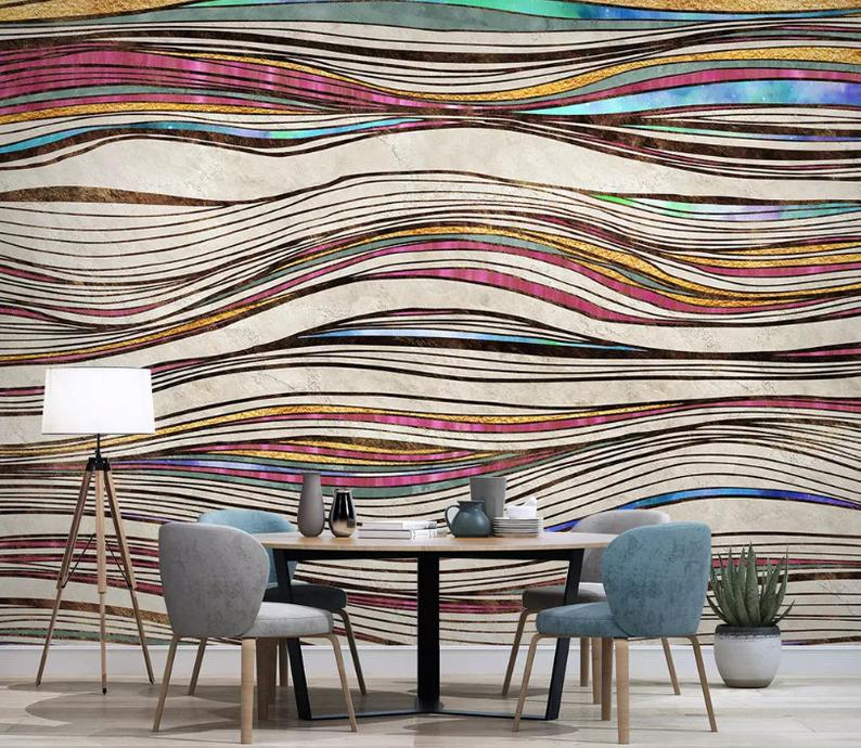 3d Messy Colored Wavy Curved Line Wallpaper Removable Self Etsy Lines Wallpaper Curved Lines Wallpaper