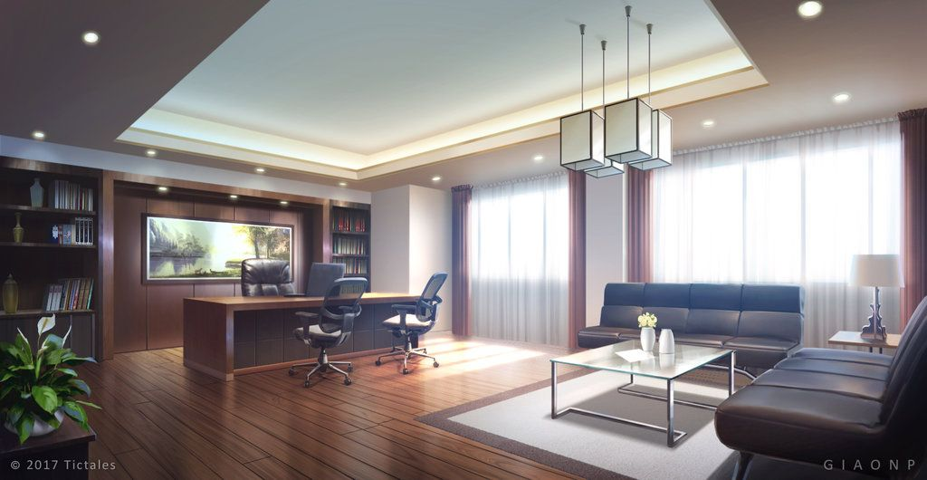 Luxury Office Day Visual Novel Background By Giaonp