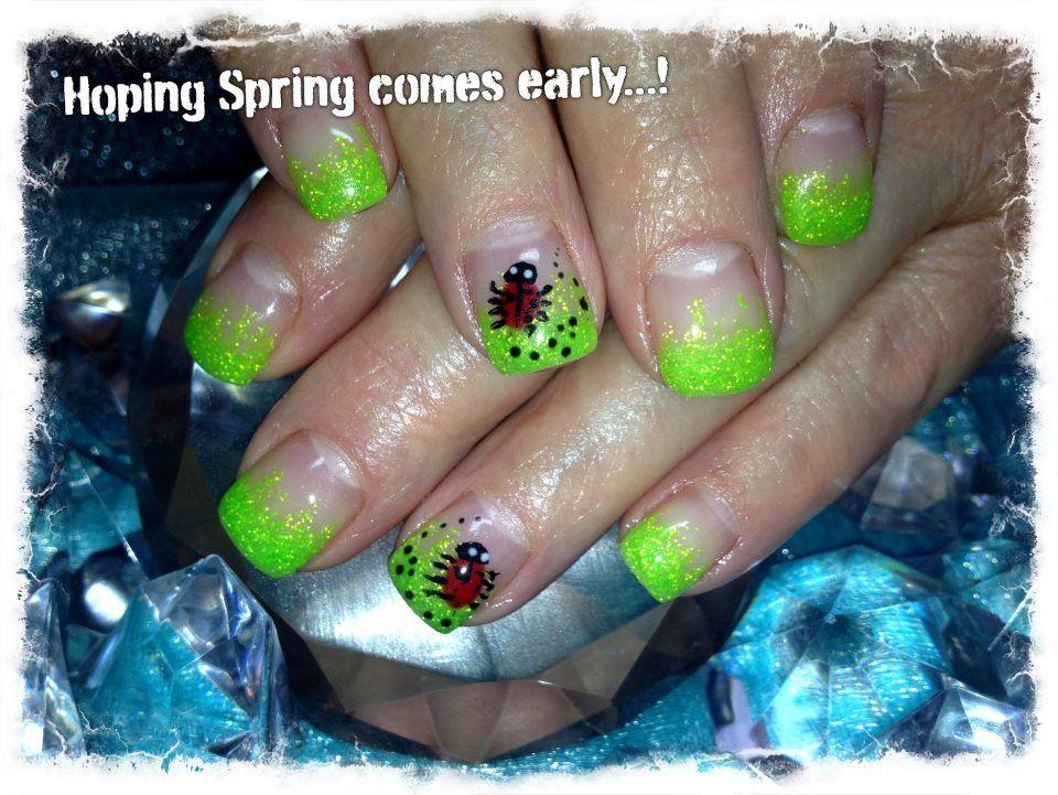 neon green sparkle tips with ladybug