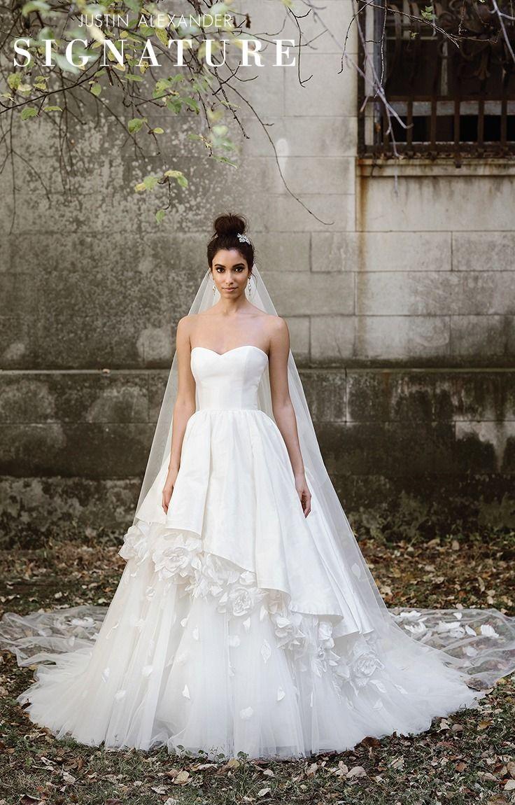Simple silk wedding dresses  Justin Alexander signature wedding dresses style   Cathedral