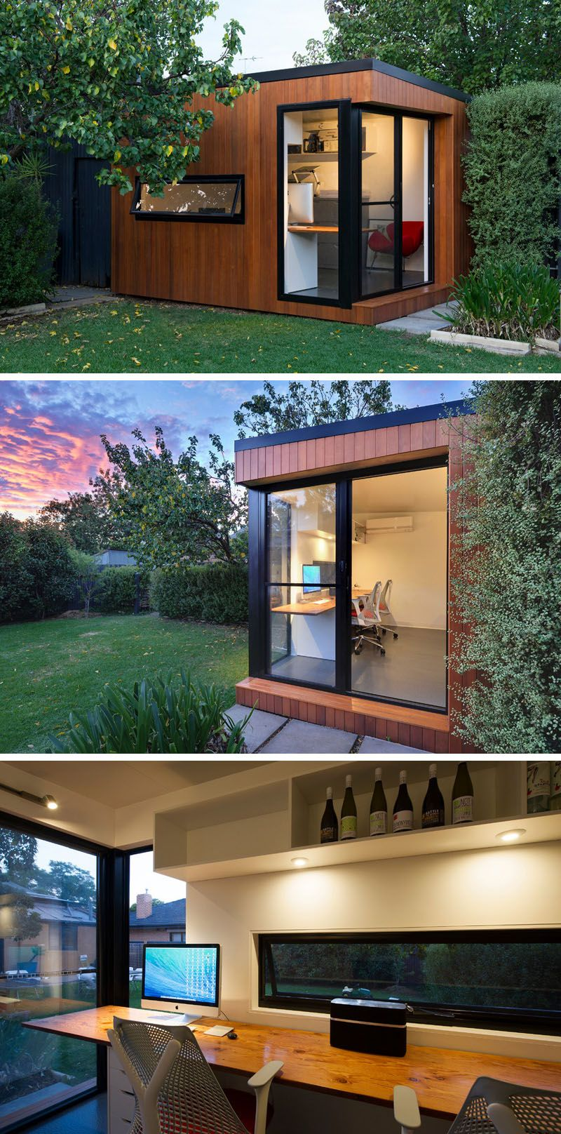 This Prefab Backyard Home Office Is Covered In Wood And Black Trim Surrounds The Windows Sliding Door