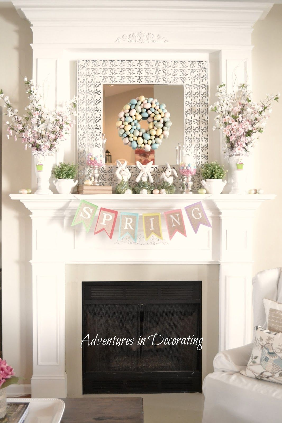 Spring Decor for the Fireplace Mantle Spring