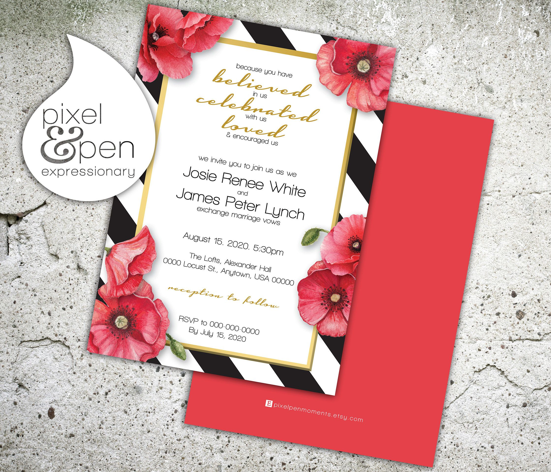 Modern Poppy Wedding Invite - 5x7\