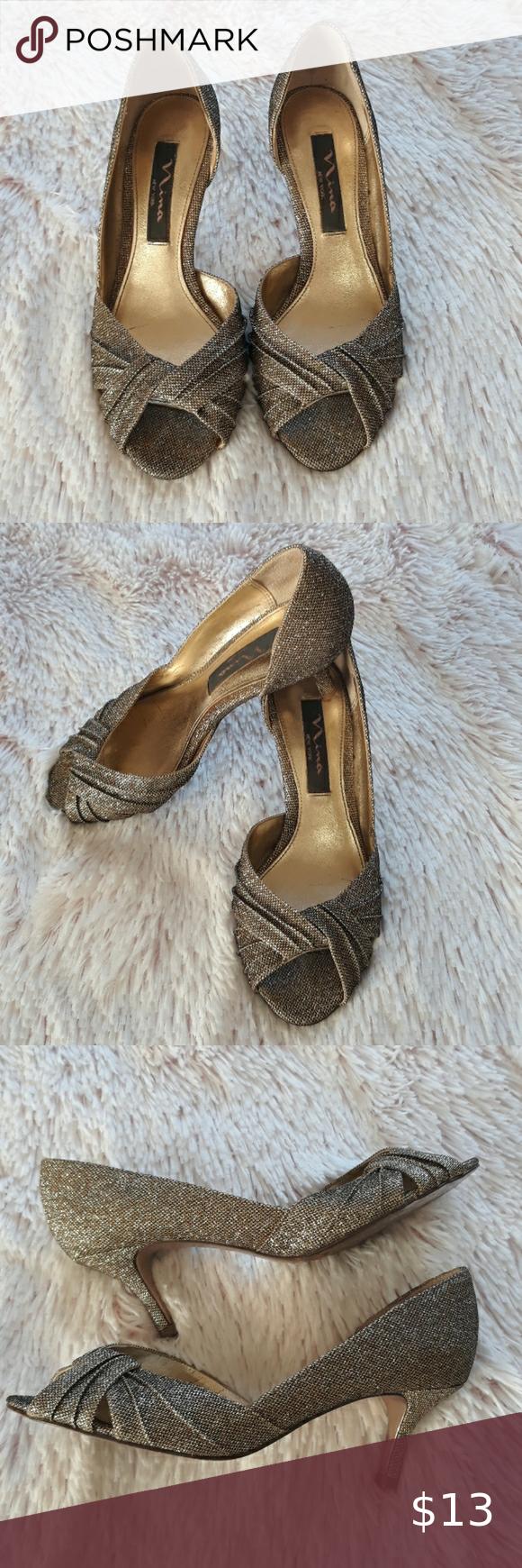 Sale Nina Shimmer Gold Heels Valentine S Day Sale Starts Today Found These Nina Shimmer Gold Peep Toe Kitten Heels In In 2020 Gold Heels Heels Shoes Women Heels