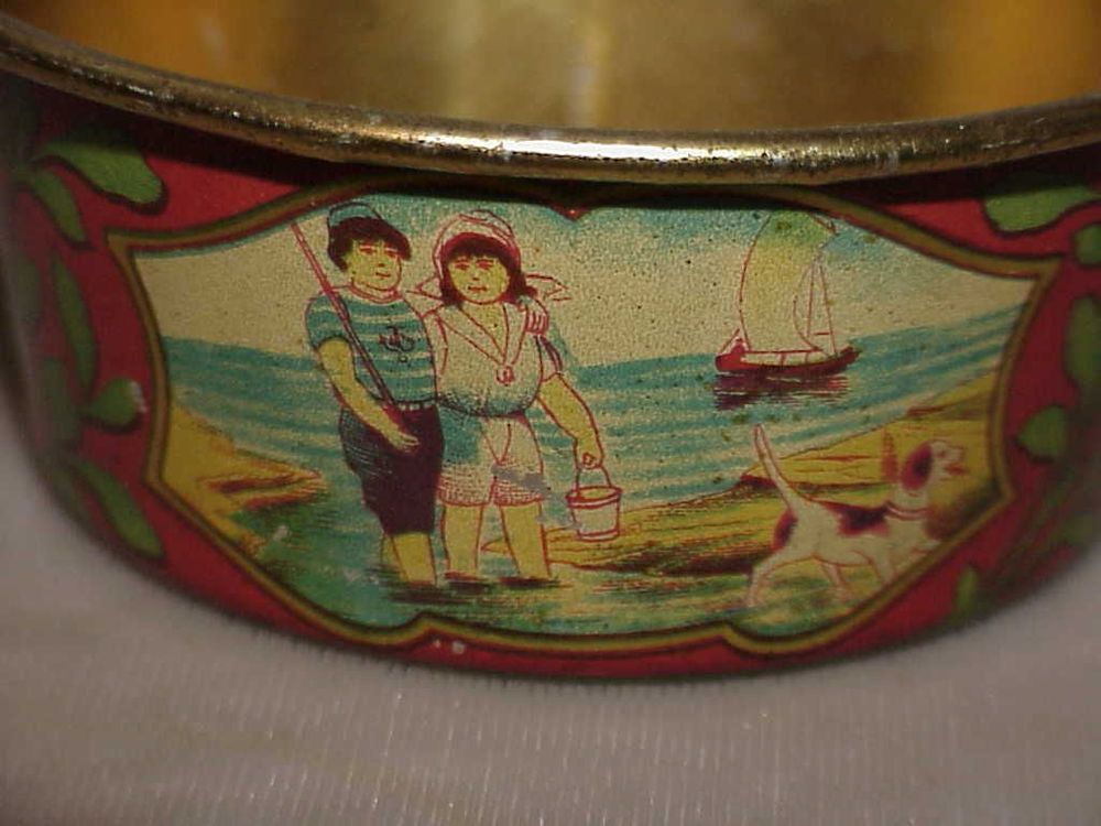 Antique SAND sifting TOY pail VERY GRAPHIC & Early CHILDREN DOGS BOATS