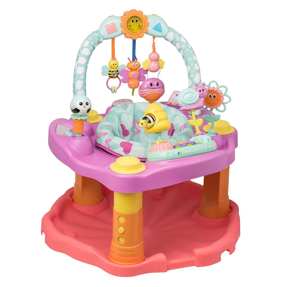 803fea9099a7 The Evenflo ExerSaucer Double Fun Bumbly Saucer in Pink gives your ...