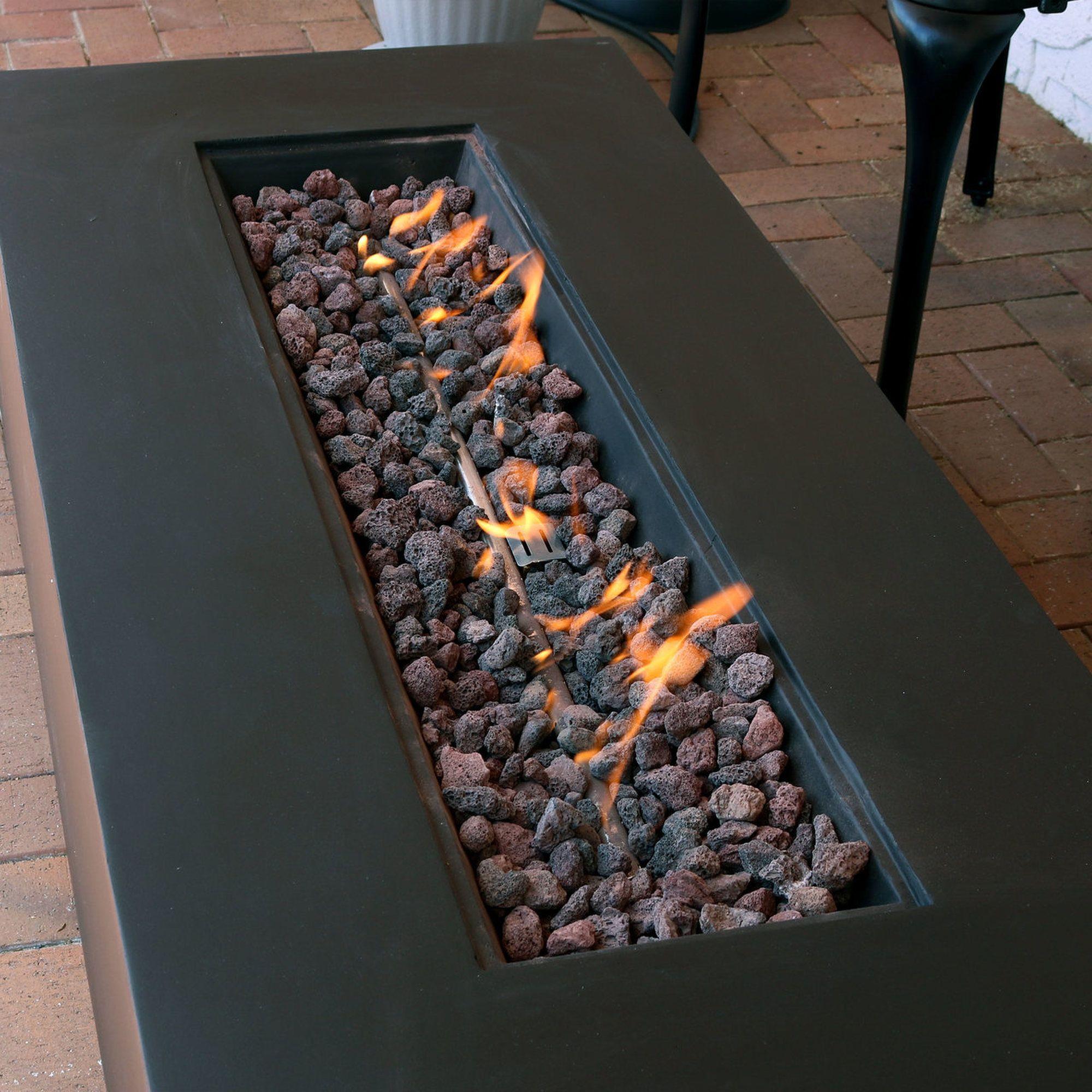 Photo of Sunnydaze 56-Inch Brown Modern Rectangular Liquid Propane Gas Fire Pit Coffee Table with Lava Rocks