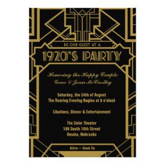 Años 20 Invitaciones Años 20 Anuncios Años 20 Convites