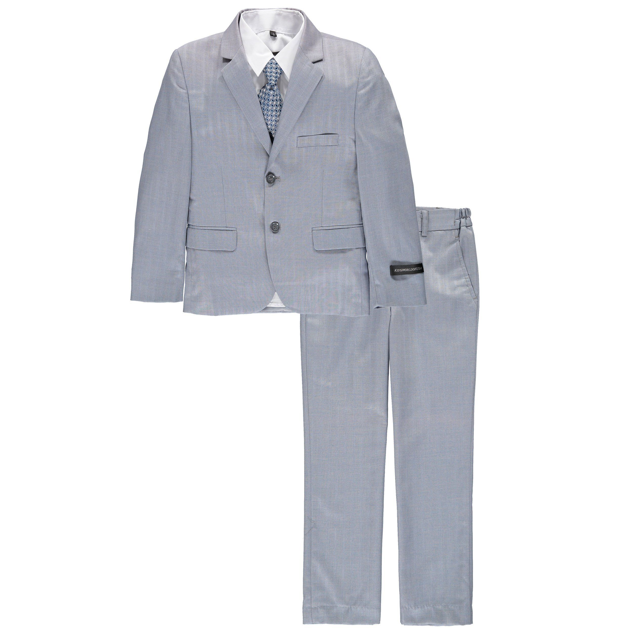Kids world of usa boys piece texture grey suit includes