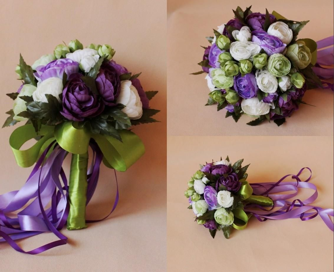 Purple White Bridal Wedding Bouquet 2015 Romantic Cheap Wedding Decoration Artificial Silk Rose