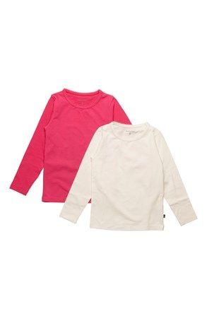 Super lækre Minymo T-shirt 2-Pack Cerise Hvid Minymo Toppe til Børn & teenager i luksus kvalitet
