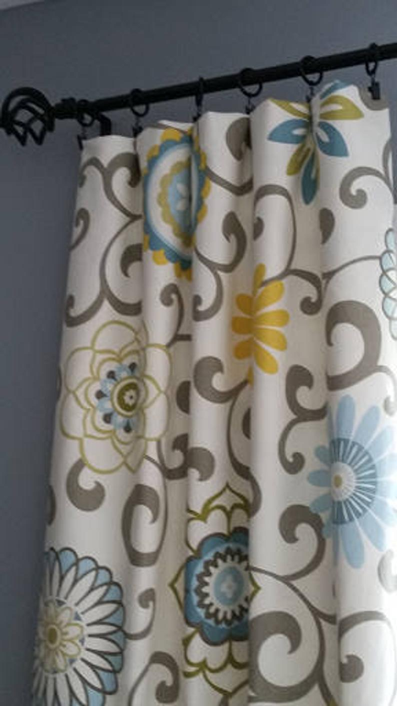 Grayblue Yellow Curtains Drapery Panels Any Available Etsy Yellow Curtains Yellow And Grey Curtains Blue Curtains