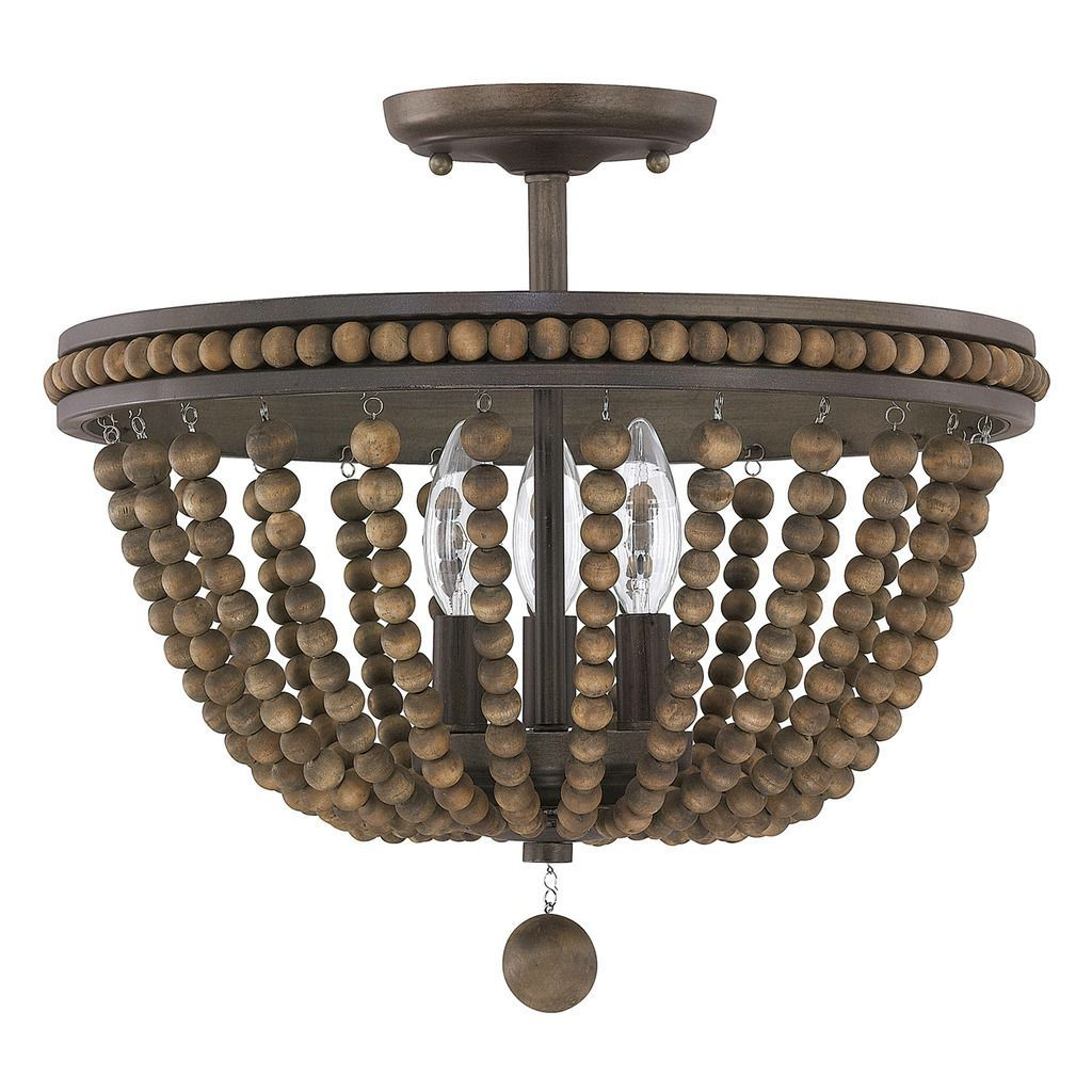 This Handley Collection 3 Light Semi Flush Fixture Features A Beautiful Hand Painted Finish