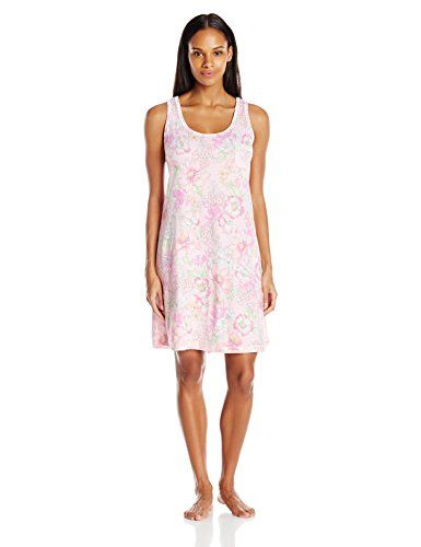 cc4ab386d4 Miss Elaine Womens Cottonessa Tank Sleep Dress Pink Botanical Floral Small    You can get more details by clicking on the image.