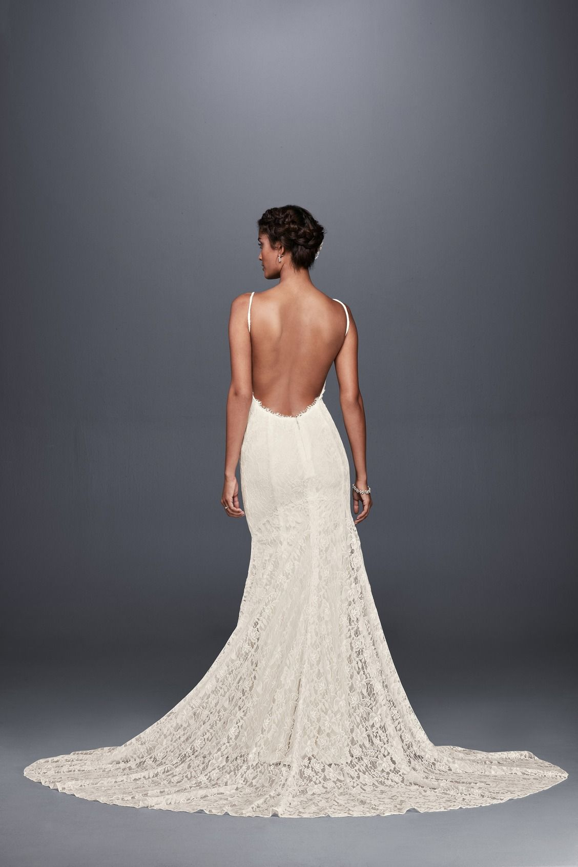 6bfeed2873 a sultry spaghetti strap soft lace sheath wedding dress with low back by  Galina available at David s Bridal