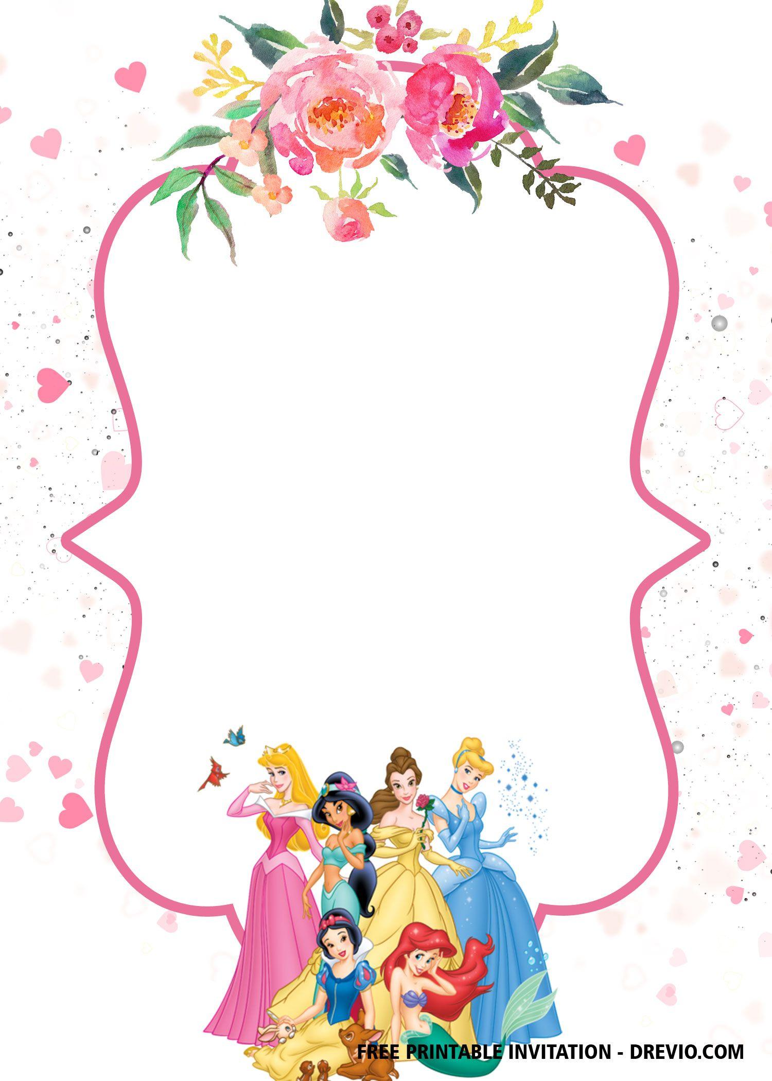 Free Disney Princess Invitation Template For Your Little Girl S Birthday Free Inv Disney Princess Invitations Princess Invitations Princess Party Invitations