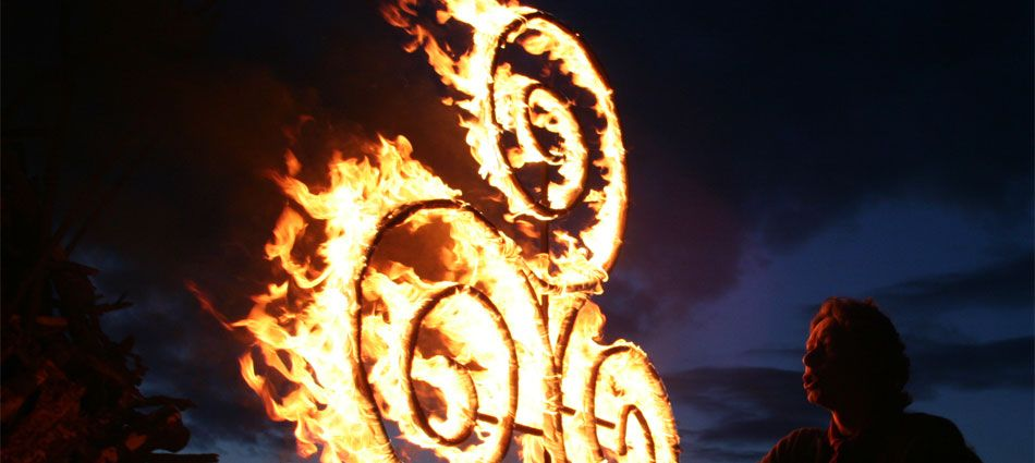 FESTIVAL OF FIRE, May 2014, Uisneach, Killare, Co Westmeath, Ireland - Festival of the Fires, is a rekindling of Ireland's oldest known festival & will return in 2014. The highlight is the spectacular fire show & parade.  Standing 180m above sea level, the summit of Uisneach commands views over the central plain, with no less than 20 counties visible on the horizon.  For thousands of yrs there were fires lit on this hill to celebrate the festival of Bealtaine (May) & the arrival of summer.