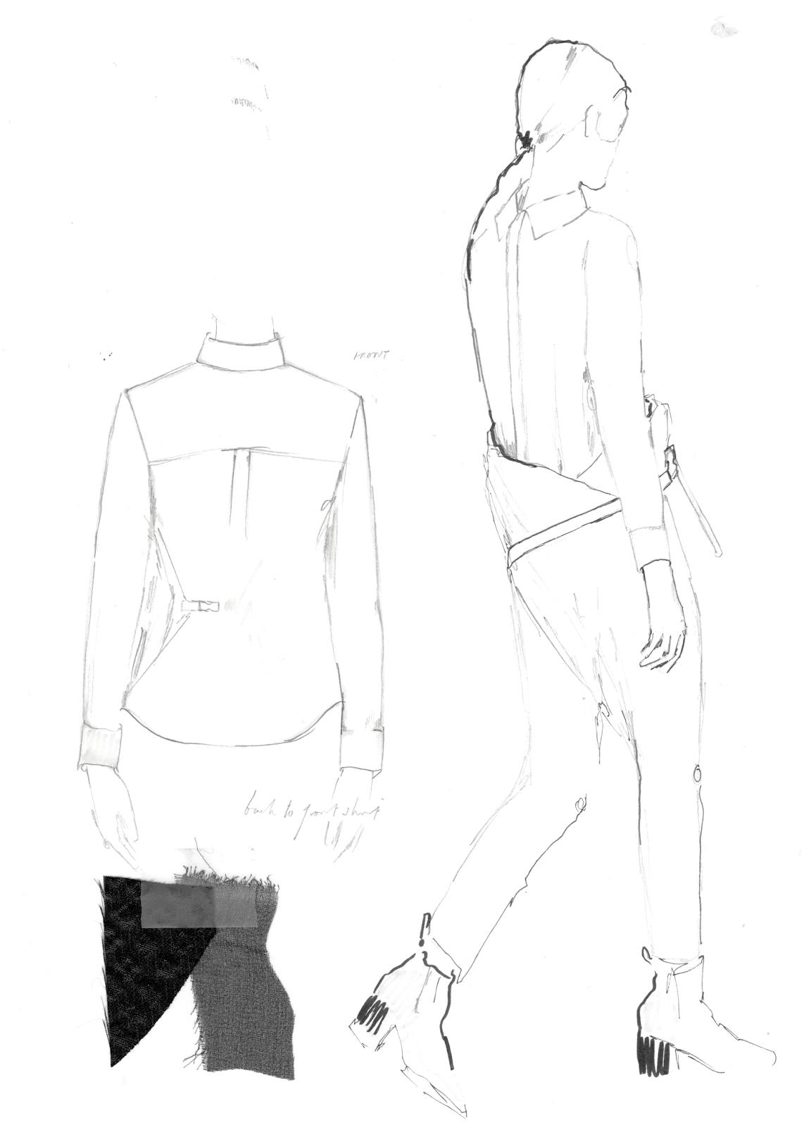 Shirt design sketches - Fashion Sketchbook Back To Front White Shirt Design Fashion Sketches Fashion