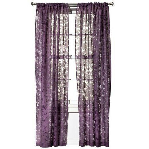 Target Botanical Burnout Sheer Curtain Panel Threshold New Purple