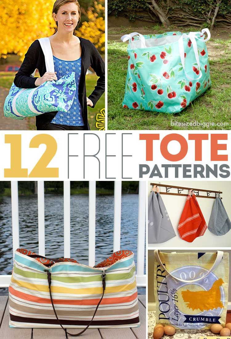 12 FREE Tote Bag Patterns #bagpatterns