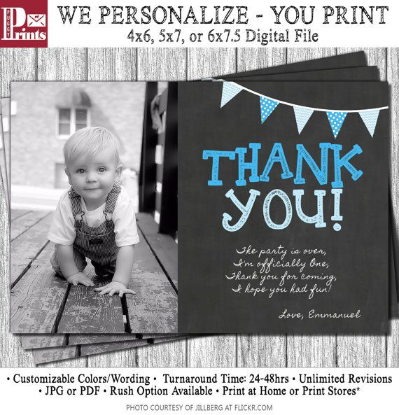 First Birthday Thank You Card 1st Birthday By Puggyprints On Etsy