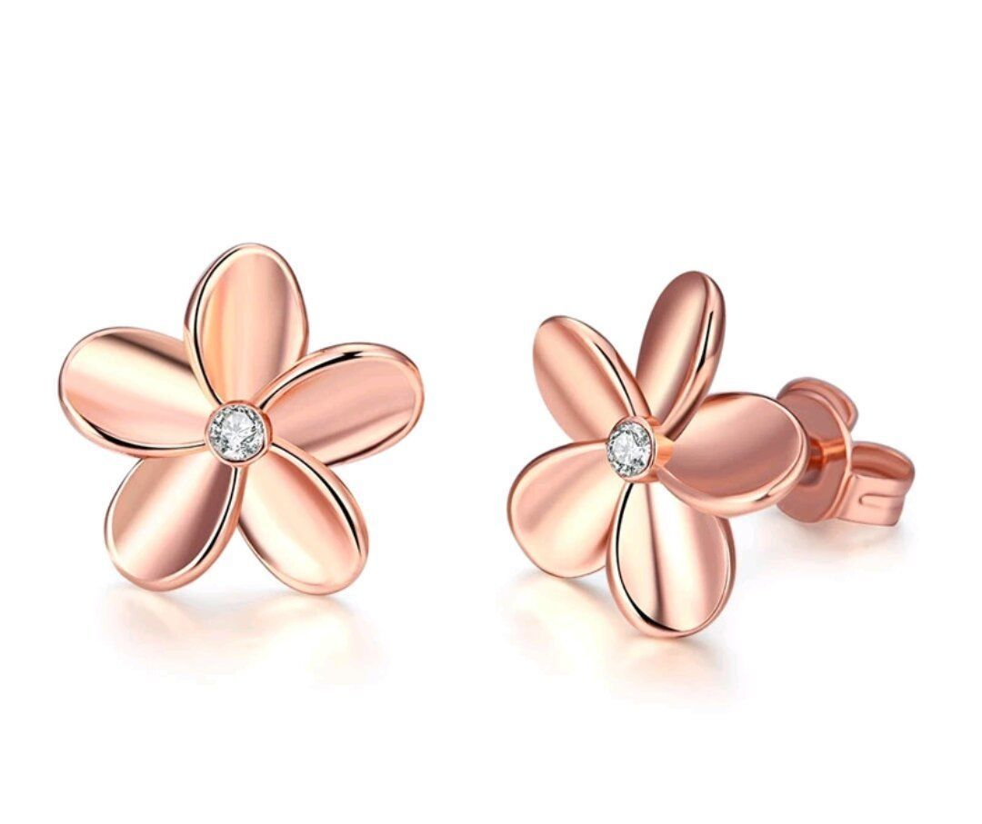 925 Rose Gold Plated Stud Daisy Flower Diamond Earrings Womens Jewellery Gift Uk
