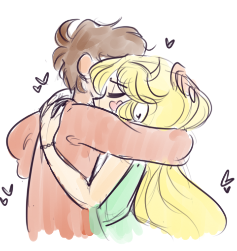 Star and Marco hugging. Can you do it, please?